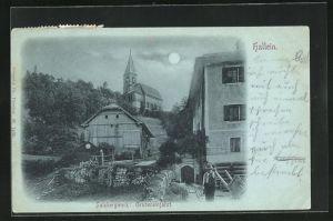 Mondschein-AK Hallein, Grubeneinfahrt am Salzbergwerk