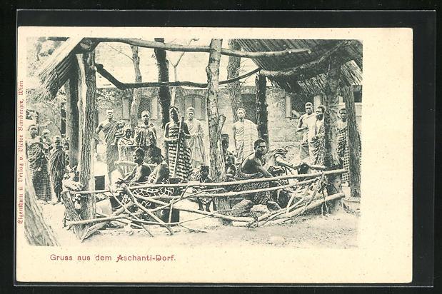 AK Deutschekolonien, Bewohner aus dem Aschanti-Dorf