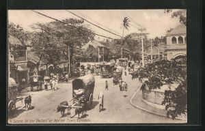 AK Colombo, A Scene in the Pettah or Native Town