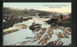 AK Oregon City, OR, Floating Logs on Willamette River