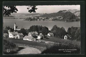 AK Seeham a. Obertrumer See b. Salzburg, Gesamtansicht mit Blick über den See
