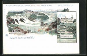 Künstler-AK Rheinfall, Aussicht vom Hotel Belle Vue, Rheinfall, Schloss Laufen, Hotel Belle Vue