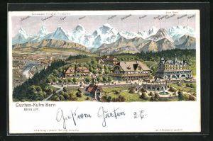 Künstler-AK C. Steinmann: Gurten-Kulm Bern, Ortsansicht mit Eiger, Mönch u. Jungfrau