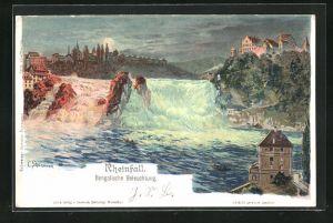 Künstler-AK C. Steinmann: Rheinfall, Bengalische Beleuchtung