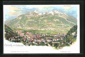 Künstler-AK C. Steinmann: Chur, Ortsansicht mit Calanda