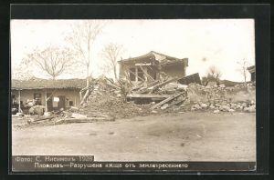 Foto-AK Plovdiv, Schäden nach Erdbeben
