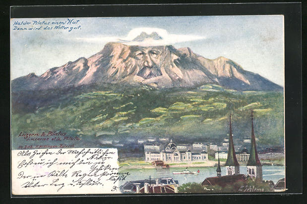 Künstler-AK Ernst Schlemo: Luzern, Motiv mit Pilatus, Killinger Nr. 202, Berg mit Gesicht / Berggesichter