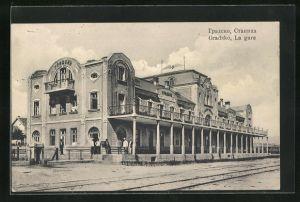 AK Gradsko, La gare, Motiv vom Bahnhof