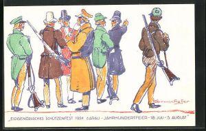 AK Aarau, Eidgenössisches Schützenfest 1924, Jahrhundertfeier, Schützen im Gespräch