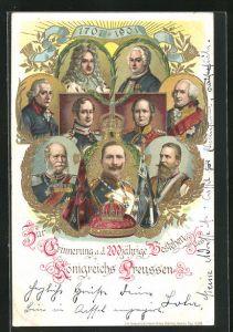 Lithographie 200 Jahre Königreich Preussen, Friedrich Wilhelm III. von Preussen, Wilhelm II. & Friedrich II.