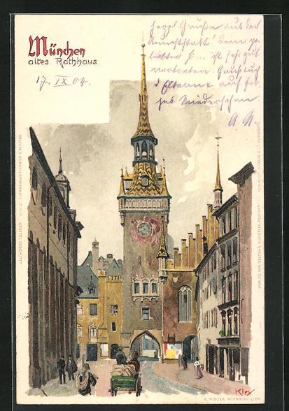Künstler-AK Heinrich Kley: München, Partie am alten Rathaus