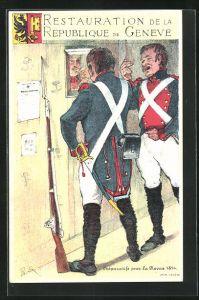 Künstler-AK Restauration de la Republique de Geneve, Preparatifs pour la Revue 1814