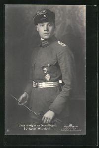 Foto-AK Sanke Nr. 566: Kampfflieger Leutnant Wüsthoff in Uniform