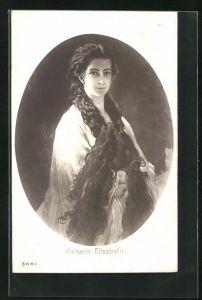 Künstler-AK Portrait Kaiserin Elisabeth (Sissi) von Österreich mit offenem Haar