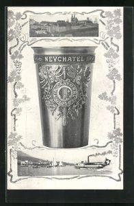 AK Neuchatel, Tir Cantonal 1906, Schützenfest, Trinkbecher