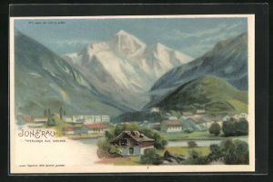 Lithographie Interlaken, Blick auf die Jungfrau, Halt gegen das Licht, Berggesicht