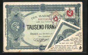 AK Reiden, Tausend Franken-Geldnote, Private Stadtpost Basel