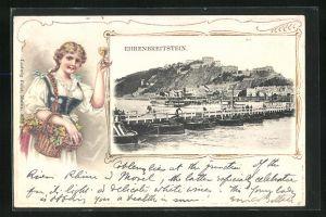 Passepartout-Lithographie Koblenz, Landungsbrücke mit Blick zur Festung Ehrenbreitstein, Dame mit Glas Wein