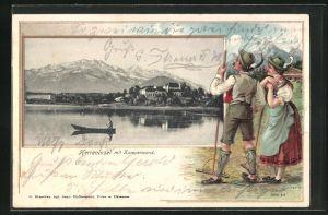 Passepartout-Lithographie Herreninsel, Schloss mit Blick zur Kampenwand, Landwirte geniessen den Ausblick
