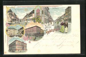 Lithographie Frankenthal, Bahnhofstrasse, Wormser-Strasse m. Thor, Karolinen Institut