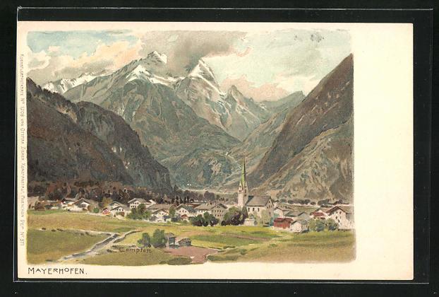 Künstler-AK Edward Theodore Compton: Mayerhofen, Gesamtansicht mit Bergpanorama