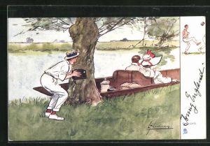 Künstler-AK L. Thackeray: Mann mit Fotoapparat versteckt sich hinter Baum u. beobachtet Paar in Kahn