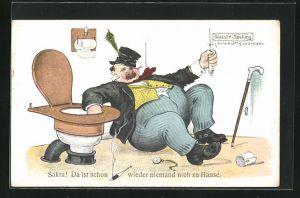 AK Scherz mit betrunkenem Mann neben Toilette zieht an Spülung und denkt es sei die Türklingel