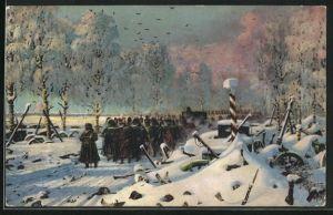 AK Befreiungskriege, Soldaten in Uniform in schneebedeckter Landschaft an Grenzmarkierung, La retraite