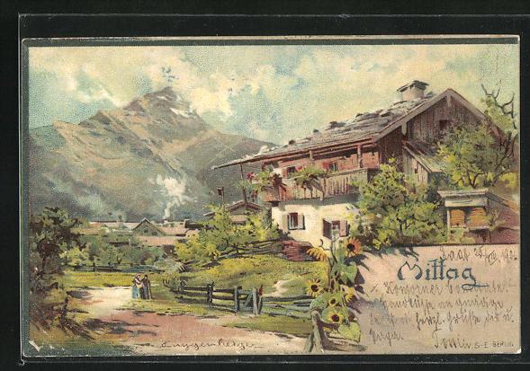 Künstler-AK Theodor Guggenberger: Haus im Gebirge mit Garten und Weg