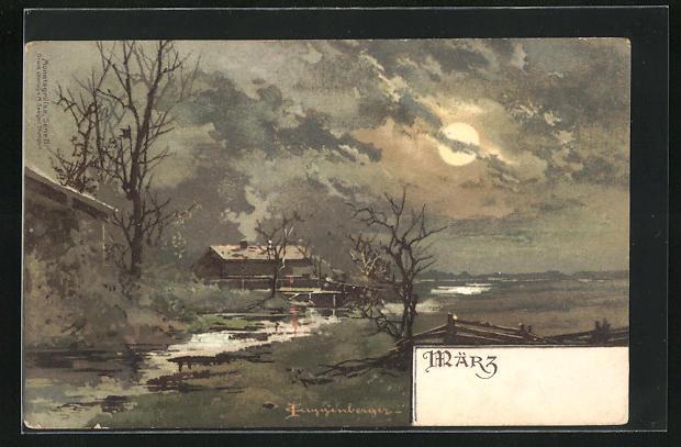 Künstler-AK Theodor Guggenberger: Haus am Fluss bei Vollmond, Allegorie auf den März