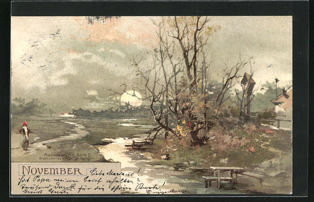 Künstler-AK Theodor Guggenberger: Bäuerin an Fluss mit blätterlosen Bäumen, Allegorie auf den November