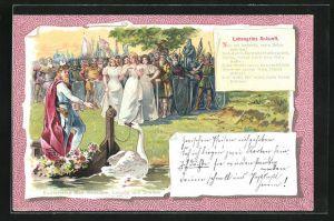 Lithographie Parsival, Lohengrin an Ufer bei Kahn mit Schwan vor Menschenmenge u. Ritter