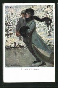 Künstler-AK Clarence F. Underwood: Love Laughs at winter