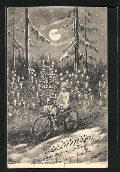 Künstler-AK Charles Scolik: Engel auf einem Fahrrad, Weihnachtsgruss