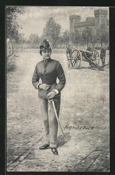 Künstler-AK Charles Scolik: Soldatin in Uniform u. Soldaten in Uniformen mit Kanone