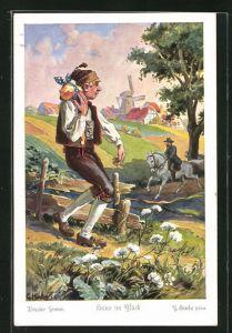 Künstler-AK sign. C. Hinke: Brüder Grimm, Hans im Glück