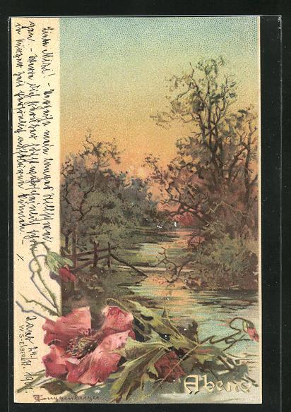Künstler-AK Theodor Guggenberger: Allegorie, Bäume am Flussufer, Abendstimmung