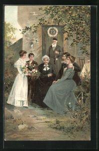 Lithographie Silberne Hochzeit, Paar mit Gratulanten