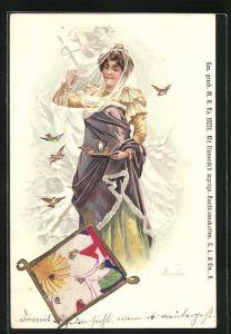 Lithographie mit Blumenduft, Winter, Allegorie, Dame füttert Vögel