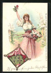 Lithographie mit Blumenduft, Sommer, Allegorie, Maid mit Blumen