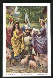 Künstler-AK Oskar Herrfurth: H. C. Andersen, Der Schweinehirt, 4. Der Schweinehirt verlangte...