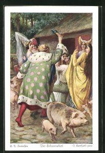 Künstler-AK Oskar Herrfurth: H. C. Andersen, Der Schweinehirt, 5. Bald ersann der Schweinehirt...