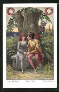 Künstler-AK Oskar Herrfurth: Ludwig Bechstein, Siebenschön, 3. Noch mehrmals war der Prinz...