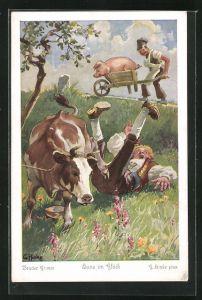 Künstler-AK sign. G. Hinke: Brüder Grimm, Hans im Glück, 3. Als Hans durstig geworden war...