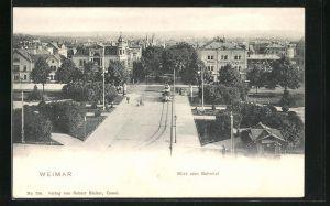 AK Weimar, Blick vom Bahnhof, Hotel Kaiserin Augusta u. Strassenbahn