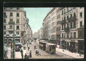 AK Geneve, Rue du Marche et Tramway, Strassenbahn