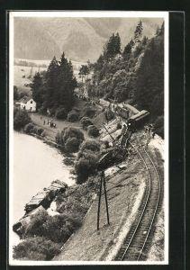 AK Leoben-Göss, Zerstörte Eisenbahn nach dem Zugunglück am 16.08.1931