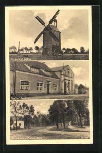 AK Saalow, Gasthaus Saalow, Mühle, Dorfaue