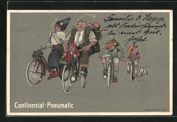 AK Reklame für Continental-Pneumatic, Familie auf Fahrrädern