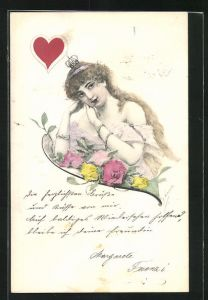 AK Kartenspiel, Karte Herz Königin mit Krone und Blumen